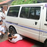 The motor van was driven over the stomach of Branch Chief Liyanage