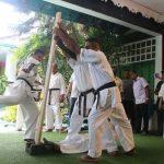 Breaking of two clubs of 3 inches diameter by Sempai Kasun Jayawardane
